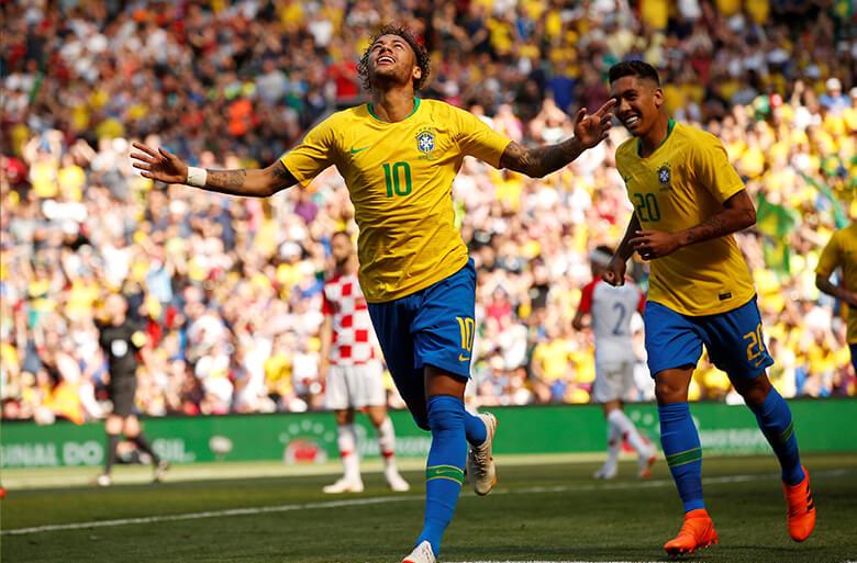 Neymar comemora seu gol, primeiro do Brasil em amistoso contra a Croácia, no dia 3 de junho. Foto: Reuters/Andrew Yates