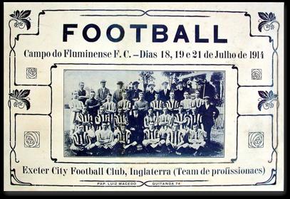 Convite para o jogo do Exeter City contra a primeira 'seleção brasileira'