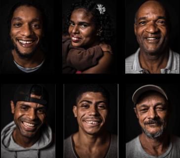 Rostos dos moradores de rua